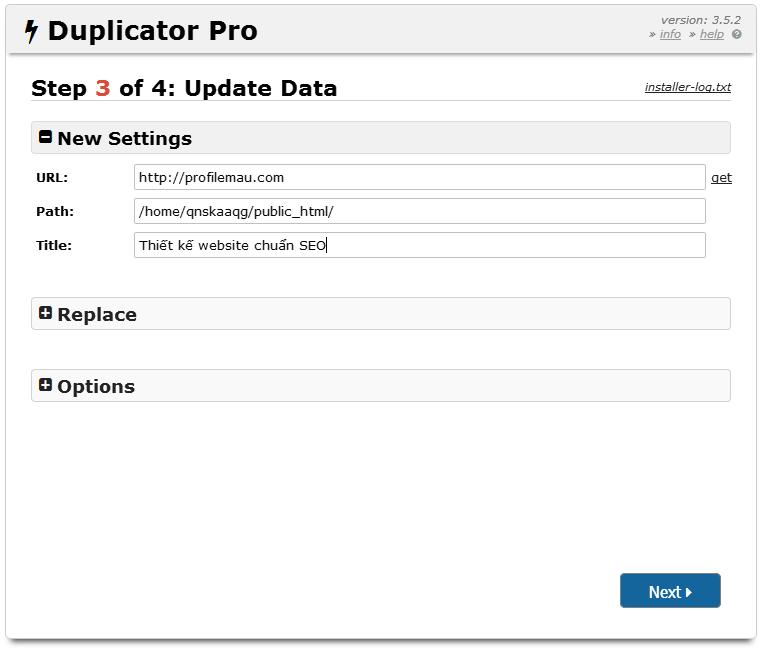 Hướng dẫn cài đặt website bằng Duplicator 16