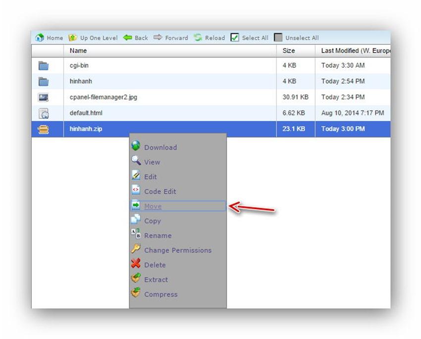 Quản lý tập tin/thư mục trên host dùng cPanel 20