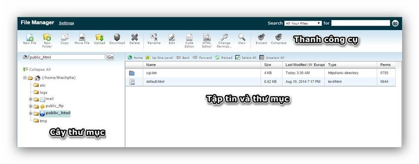 Quản lý tập tin/thư mục trên host dùng cPanel 3