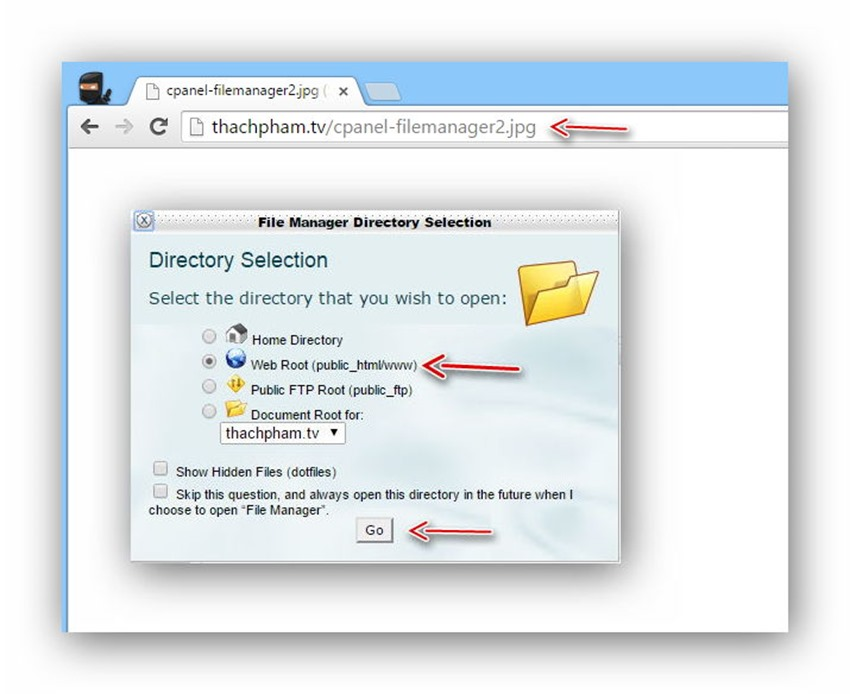 Quản lý tập tin/thư mục trên host dùng cPanel 7