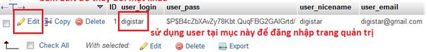 Cách lấy lại mật khẩu Wordpress trong phpmyadmin 3