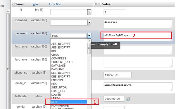 Cách lấy lại mật khẩu Wordpress trong phpmyadmin 4