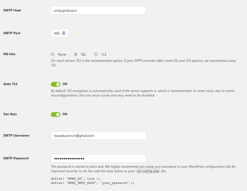 Hướng dẫn cấu hình gửi mail SMTP WordPress 6