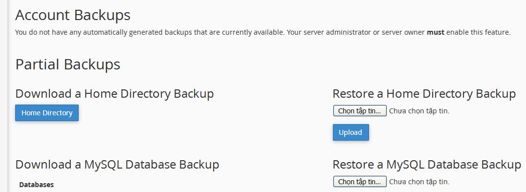Backup và chuyển website WordPress qua Host khác sử dụng cPanel thủ công 1