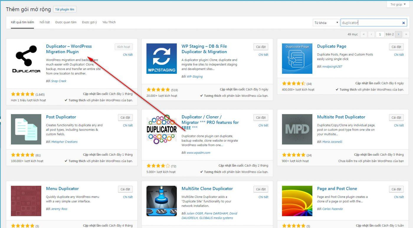 Hướng dẫn backup website Wordpress với Plugin Duplicator 1