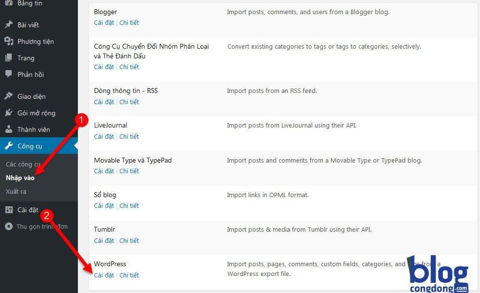 Hướng dẫn Xuất/Nhập (Import/Export) dữ liệu trong WordPress 2