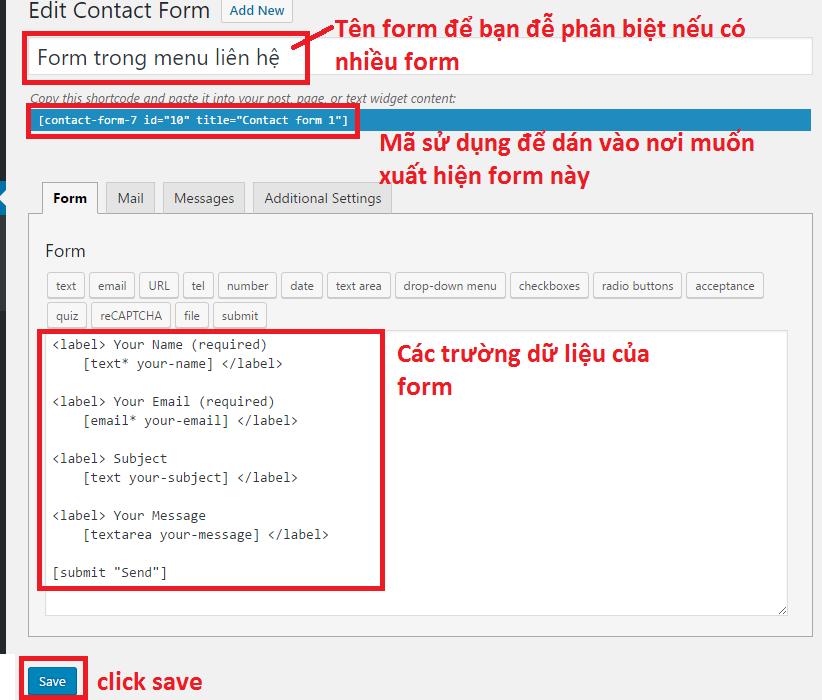 Hướng dẫn sử dụng Plugin Contact Form 7 từ A đến Z 3